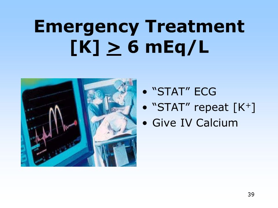Emergency Treatment [K] > 6 mEq/L
